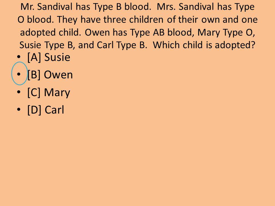 [A] Susie [B] Owen [C] Mary [D] Carl